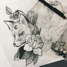 The Magic Society)(hier: The Magic Society) Pretty Tattoos, Unique Tattoos, Beautiful Tattoos, Cool Tattoos, Easy Tattoos, Small Tattoos, Tribal Tattoo Designs, Fox Tattoo Design, Tattoo Sketches