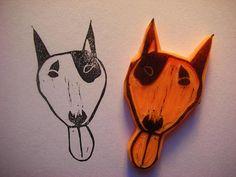 bull terrier stamp by Kozue