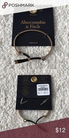 NWT Abercrombie & Fitch bracelet NWT A&F bracelet. Gold finish with adjustable slider on black rope detail. Abercrombie & Fitch Jewelry Bracelets