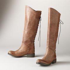 """AT A GLANCE BOOTS--Supremely soft, leather lace-back boots, in an easy, slip-on style with full-length lacing for the perfect fit. Italy. Exclusive. Euro whole sizes 36 to 41. 36 (US 7), 37 (US 7.75), 38 (US 8.5), 39 (US 9.25), 40 (US 10), 41 (US 10.75). 1-1/2"""" heel."""