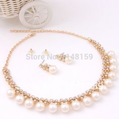 Find More Jewelry Sets Information about Fashion Rhinestone Necklace Earrings Set Imitation Pearls 18K Gold Plated African Beads Bridal Wedding Accessories Jewelry Sets,High Quality Jewelry Sets from Coo-Jewelry on Aliexpress.com