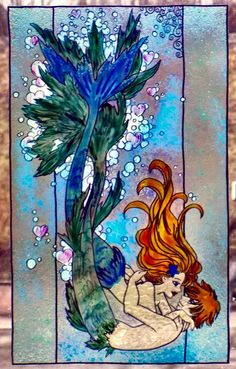 WICOART WINDOW COLOR STICKER STATIC CLING STAINED GLASS LOVE SIRÈNES MERMAIDS