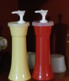 Vintage Tupperware Ketsup and Mustards Plastic Food Containers, Vintage Tupperware, Mustard, Retro, Mustard Plant, Retro Illustration