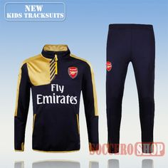 Top Quality:New Fashion Kids Arsenal 2016 2017 Black/Yellow Tracksuit Personalised Customised
