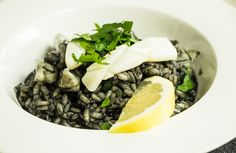 From the heart of Adriatic Croatia - black risotto with squid and lemon.