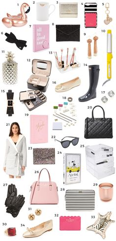 The ultimate list of Christmas gift ideas for the girly girl in your life! This fun Christmas gift guide for women is filled with classy and feminine gifts in every price range   Christmas gift ideas, gift ideas, gifts for women, Kate Spade, flamingo pool float, Hunter Boots