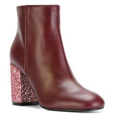 Pollini glitter heel boots (1.550 RON) ❤ liked on Polyvore featuring shoes, boots, red boots, red glitter shoes, real leather boots, genuine leather boots and genuine leather shoes