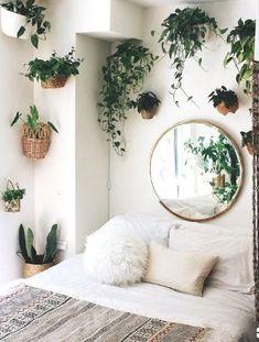 30 DIY Interior Decorating Ideas with natural materials - Pinmagz Living Room Mirrors, Living Room Decor, Bedroom Decor, Bedroom Ideas, Bedroom Bed, Bedroom Designs, Master Bedroom, Wall Decor, Bedroom Plants