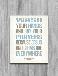 Bathroom Art Modern Vintage Print Wash Your Hands Say Your Prayers 8x10 11x14 Aqua Tan Green Home Decor via Etsy