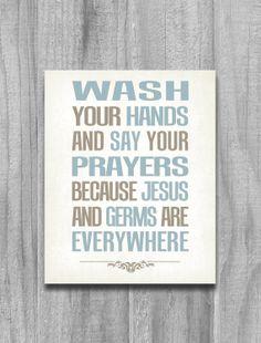 Bathroom Art Modern Vintage Print Wash Your Hands Say Your Prayers 8x10 11x14 Aqua Tan Green Home Decor via Etsy