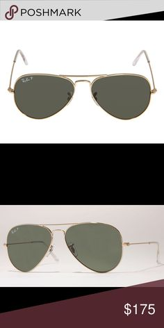 Ray Ban Sunglasses Polarized RB Sunglasses. Gold Frame. #3025, 58mm. New, unworn. Ray-Ban Accessories Sunglasses