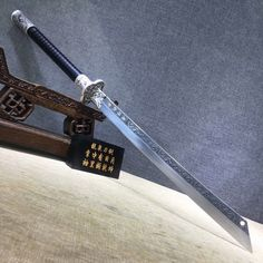 Kangxi baodao,High carbon steel etch blade,Alloy fittings,Black scabbard