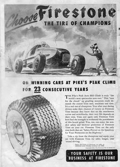 Al Rogers and the Coniff Special used Firestone Tires to win the Pikes Peak Hill Climb race. Ad was from early 1953