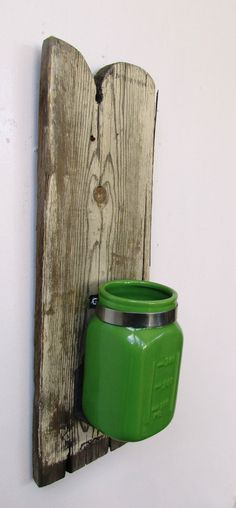 Green Reclaimed Wood Vase, Rustic Home Decor, Beach Home Decor. READY TO SHIP