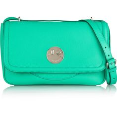 Hill & Friends Happy leather shoulder bag ($470) ❤ liked on Polyvore featuring bags, handbags, shoulder bags, genuine leather shoulder bag, leather purses, green handbags, real leather purses and 100 leather handbags