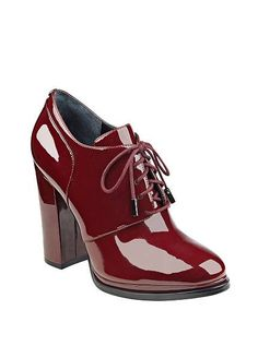 Patent faux-leather pumps with almond toe, block heel and lace-up closure. Red  Shoes for Women