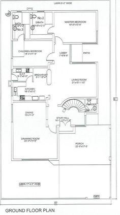 10 Marla House Plan, Shirdi Sai Baba Wallpapers, House Roof Design, Plans Architecture, Lay Outs, Ground Floor Plan, Home Design Plans, Master Bath, Pakistan
