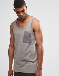 Image 1 of ASOS Vest With Military Pocket and Woven Panel
