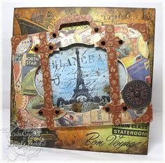 The Funkie Junkie: Vacations - It's All About Getting There. Uses the Tim Holtz vintage valise, distress inks, stamps and die cuts