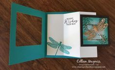 creatingwithcolleen.typepad.com, creatingwithcolleen.stampinup.net, Stampin' Up!, dragonfly dreams, Butterfly Basics, copper foil paper, serene scenery designer paper stack, special fold