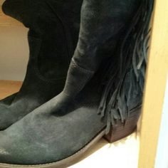 Carlos Santana fringe boots These are a deep denim blue side zip fringe cowboy style boots they look worn but that's the way they were made very comfortable really well made boots  suede upper man-made bottom very nice  two and a half inch heels great boots Carlos Santana Shoes