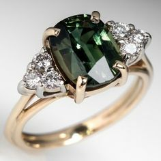 Natural Green Sapphire Engagement Ring 14K Yellow Gold