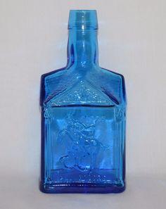 Wheaton Cobalt Blue Paul Revere 1775 Decanter Commemorative Bottle House Shaped