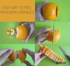 This tip is especially useful for those of you that don't have any nails to dig into the tough skin of an orange. With a few clever cuts of a knife, you can peel an orange and eat it without juice dripping all over your hands. Cake Blog, Homemade Sauce, Orange Peel, Food Hacks, Food Tips, Kitchen Hacks, Kitchen Ideas, Fun To Be One, Cool Kitchens