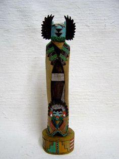 Native American Hopi Carved Crow Mother (Angwusnasomtaka) Katsina Sculpture by Lauren Honyouti