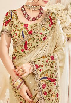 #Embroidered #Art #Silk #Saree in #Beige