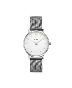 Cluse Hodinky Minuit Mesh Silver/White 2790 Kč Unisex, Gold Watch, Mesh, Watches, Silver, Clock, Men, Accessories, Steel