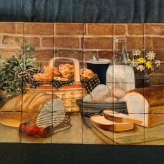 Daily bread picture tile mural at tilemuralstore.co.uk #kitchenrenovation #foodmural #kitchendecor Glass Splashbacks, Make Pictures, Tile Murals, Daily Bread
