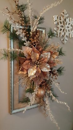 Holiday crafting fun creating a beautiful wreath from a picture frame. by marlas Christmas Flower Decorations, Christmas Flower Arrangements, Christmas Swags, Christmas Flowers, Christmas Frames, Christmas Centerpieces, Easy Diy Christmas Gifts, Christmas Projects, Creations