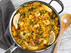 Seafood Rice Skillet is a nod to seafood paella using easy to find ingredients and equipment. Impress your dinner guests with this easy and impressive dish! Frozen Seafood Mix Recipes, Seafood Rice Recipe, Mixed Seafood Recipe, Healthy Seafood Recipes, Shrimp Paella Recipe, Healthy Food, Salmon Recipes, Rice Recipes, Cooking Recipes