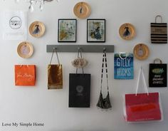 shopping bag inspired gallery wall kidspace, bedroom ideas, closet, crafts, how to, repurposing upcycling