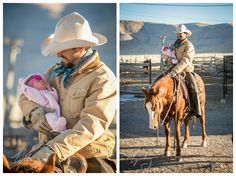 Portrait Photography, Newborn baby girl pictures on her daddy's saddle. First horseback ride.