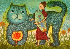 Whimsical cat by Jane Lebedeva