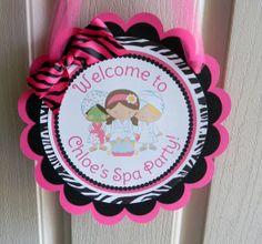 Spa Girls Birthday Party Door Sign in Hot Pink Zebra via Etsy