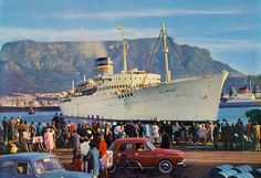 "union castle steamship line | Oranje"", Safmarine, leaving Cape Town (old card, coll. WS)"