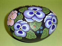 Periwinkle Blue and Carnation Pink Pansies with Turquoise Blue for-get-me-nots and a ladybug, spring herb garden marker for the gardener in the