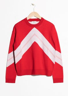Other Stories image 1 of Varsity Knit Sweater in Red