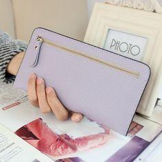 2017 Fashion Simple Long Wallet Women Zipper Soft Leather Ultrathin Coin Wallets Women Clutch Purse Korean style Card Holders