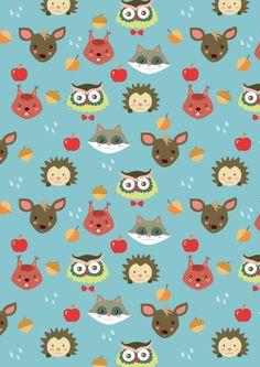 FREE printable Autumn animals pattern paper
