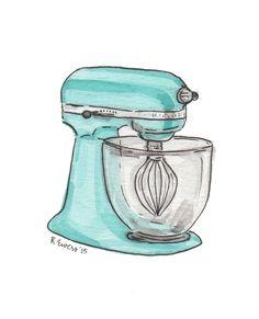 Turquoise Mixer Art Print by robinewers Baking Logo Design, Cake Logo Design, Cake Drawing, Food Drawing, Watercolor Cake, Watercolor Paintings, Food Illustrations, Illustration Art, Recipe Drawing