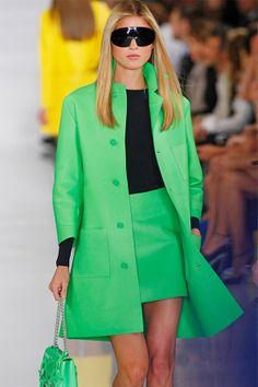 A-line coat in vibrant green, Ralph Lauren Collection. Photo: Leena Aro