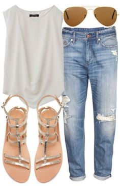 20 Style Tips On How To Wear Boyfriend Jeans Go very simple and casual by wearing a simple white tee, sandals, and aviators. This is a great summer look. how to wear boyfriend jeans Outfits Damen, Komplette Outfits, Spring Outfits, Casual Outfits, Spring Clothes, Grunge Outfits, Spring Dresses, Dress Casual, Fashion Outfits
