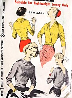 1950s RARE  Switchabout Blouse Pattern Advance 8190 Stunning Design For Wrap Around Blouse Very Easy To Sew Size Small Vintage Sewing Pattern