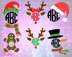 Christmas Monogram Frame Cutting Files in Svg Eps Dxf Jpeg for Cricut & Silhouette: Reindeer Bow Elf Snowman Scarf Santa Hat Gingerbread Man