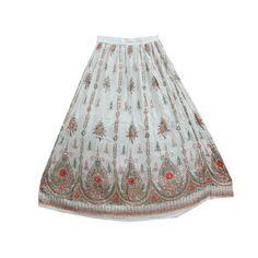 White Sequin Skirt Long Skirts Designer Sparkly Sequin Peasant Skirt 36: Clothing $24.99