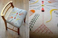 Peter & Sally Nencini | Illustrator & Embroiderer creative duo.: The Tyrella Chair for which the original drawing was made in response to Tyrella beach in County Down, Northern Ireland. This is a very special place for Peter and especially Sally as it goes back to her childhood. How lovely.